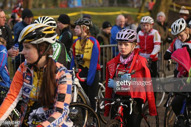 Competitors prepare to take to the start in the 'Youth Under 14' category race at the 2013 National CycloCross Championships in Peel Park on January...