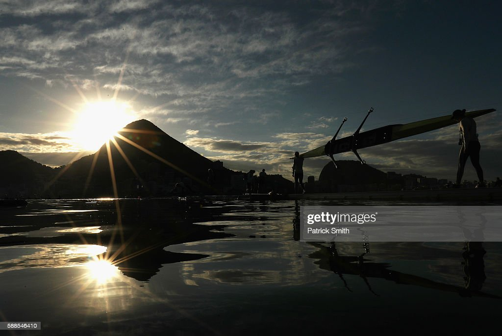 Competitors prepare to warm up prior to rowing on Day 6 of the 2016 Rio Olympics at Lagoa Stadium on August 11, 2016 in Rio de Janeiro, Brazil.