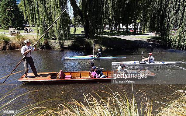 Competitors race down the Avon river during the one day event during the Speight's Coast to Coast on February 13 2010 in Christchurch New Zealand