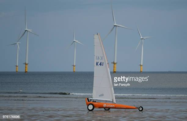 Competitors race during the National Land Sailing regatta held on Coatham Sands on June 16, 2018 in Redcar, England. Land sailing events held on the...