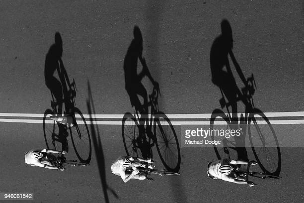 Competitors race during the Road Race on day 10 of the Gold Coast 2018 Commonwealth Games at Currumbin Beachfront on April 14 2018 in Gold Coast...