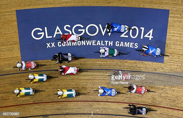 Competitors race during the Women's 10km Scratch Race at Sir Chris Hoy Velodrome during day three of the Glasgow 2014 Commonwealth Games on July 26...