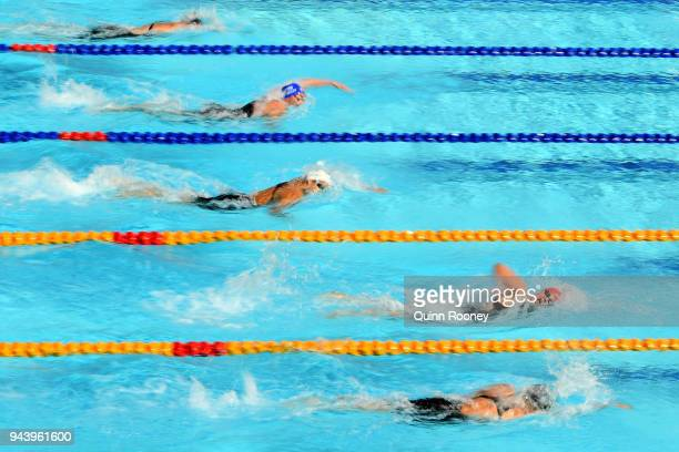 Competitors race during the Women's 400m Freestyle Heat 2 on day six of the Gold Coast 2018 Commonwealth Games at Optus Aquatic Centre on April 10...