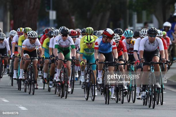 Competitors race during the Women's Road Race on day 10 of the Gold Coast 2018 Commonwealth Games at Currumbin Beachfront on April 14 2018 in Gold...