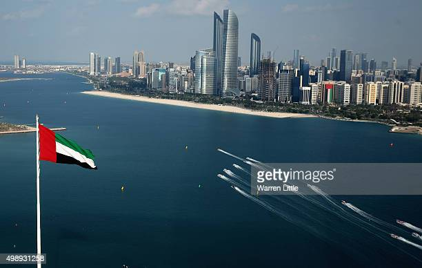 Competitors race in the Abu Dhabi Grand Prix on day three during the sixth and final round of the UIM XCAT World Series where 14 boats are competing...