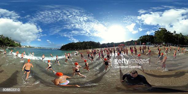 Competitors race in the Cole Classic Ocean Swim from Shelly Beach to Manly Beach on February 7 2016 in Sydney Australia