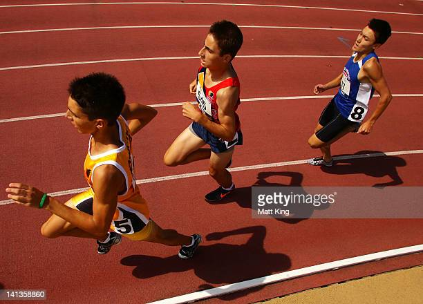 Competitors race in the Mens U18 800m during day two of the Australian Junior Athletics Championships at Sydney Olympic Park Athletic Centre on March...