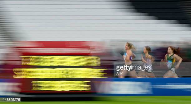 Competitors race in the Women's 5000 metres during the BUCS Outdoor Athletics Championships a part of the London Prepares series of test events at...