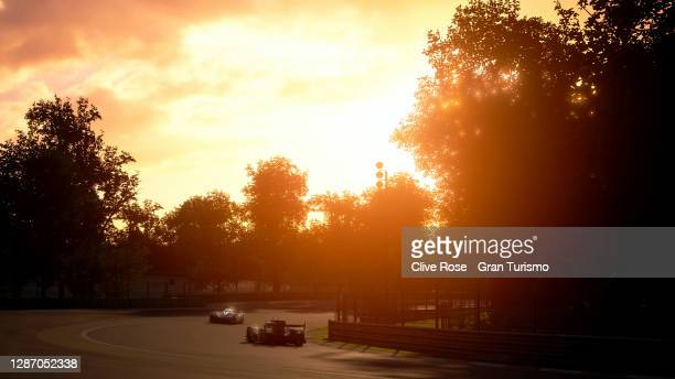 Competitors race into the sunset during race 2 of the FIA Gran Turismo Championship EMEA Regional Finals 2020 run at the Monza circuit on November...