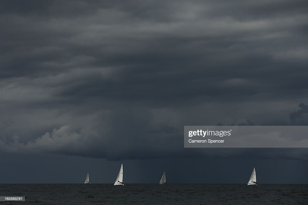 Competitors race offshore during the Sydney Regatta on Sydney Harbour, on March 9, 2013 in Sydney, Australia.