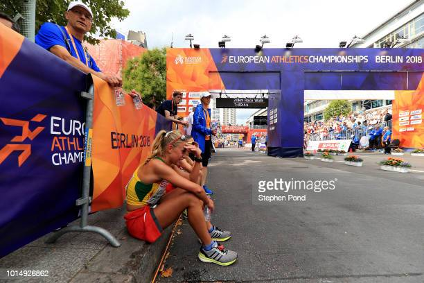 Competitors react after competing in the Women's 20km Race Walk during day five of the 24th European Athletics Championships on August 11 2018 in...