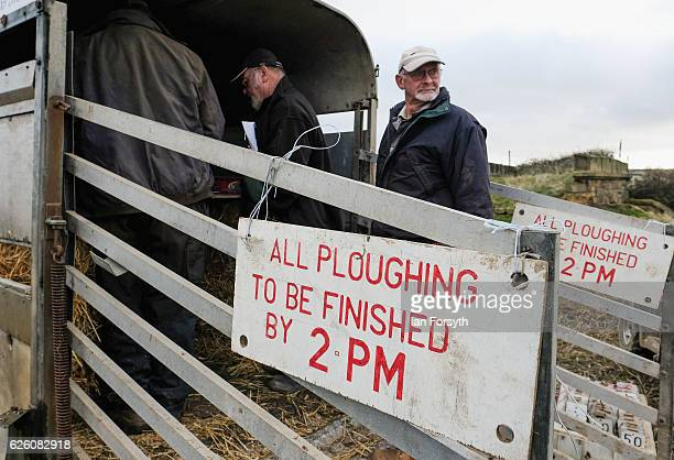 Competitors register their entry during the annual ploughing match on November 27, 2016 in Staithes, United Kingdom. The event which is held each...