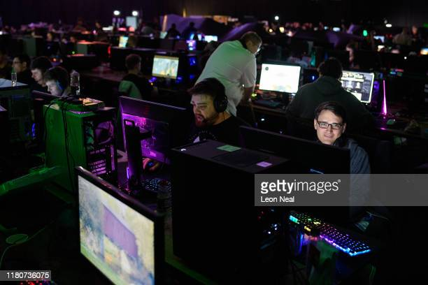 Competitors relax between rounds at the epicLAN esport tournament at the Kettering Conference Centre on October 12 2019 in Kettering England EpicLAN...