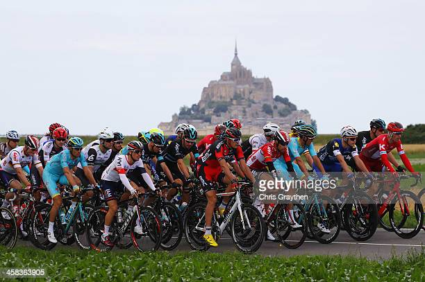 Competitors ride during Stage One of Le Tour de France 2016 on July 2 2016 in Le MontSaintMichel France Le MontSaintMichel hosts the Grand Depart...