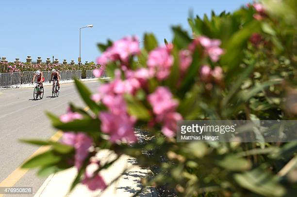 Competitors ride in the Women's Triathlon Final during day one of the Baku 2015 European Games at Bilgah Beach on June 13 2015 in Baku Azerbaijan