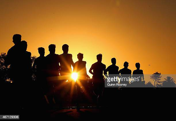 Competitors run in the Men's 5000 Metre Run during the IAAF Melbourne World Challenge at Lakeside Stadium on March 21 2015 in Melbourne Australia