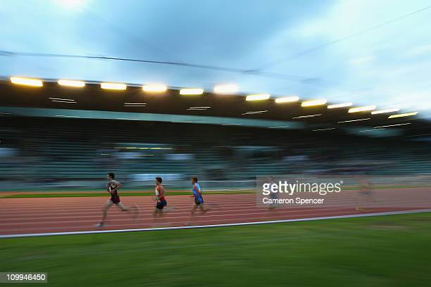 Competitors run in the mens U18 3000m during day two of the Australian Junior Athletics Championships at Sydney Olympic Park Athletic Centre on March...