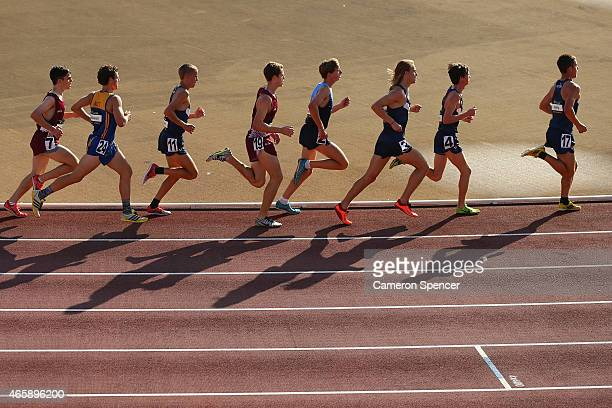 Competitors run in the mens U20's 5000m during the Australian Junior Athletics Championships at Sydney Olympic Park on March 12 2015 in Sydney...