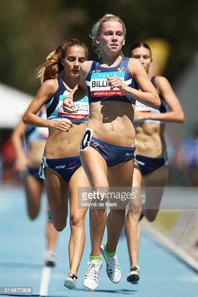 Competitors run in the Women 800 Metre U20 Heat during the Australian Junior Athletics Championships at WA Athletics Stadium on March 12 2016 in...