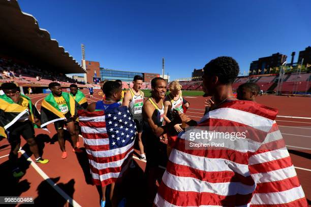 Competitors shake hands following the final of the men's 4x100m relay on day five of The IAAF World U20 Championships on July 14 2018 in Tampere...