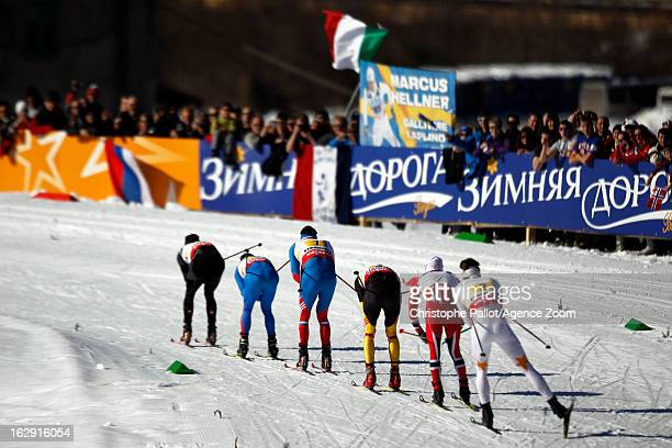 Competitors ski during the FIS Nordic World Ski Championships Cross Country Men's Relay on March 01 2013 in Val di Fiemme Italy