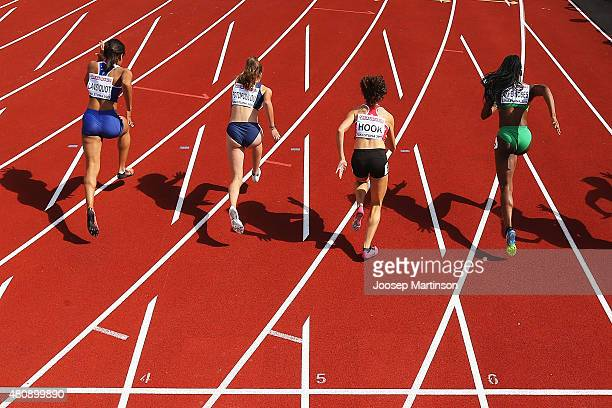 Competitors start during the Women's 100m at Ekangen Arena on July 16 2015 in Eskilstuna Sweden