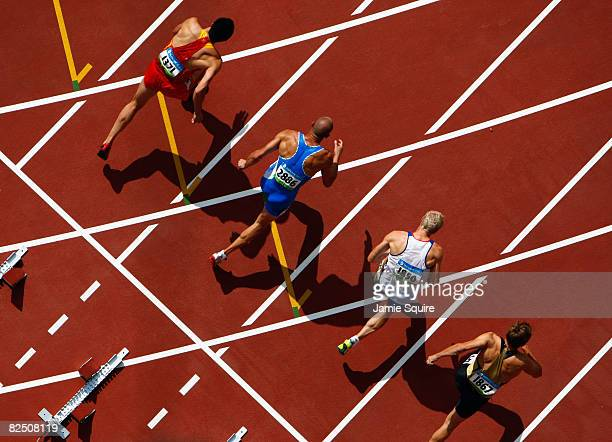 Competitors start the 110m Hurdles Heat 4 of the Men's Decathlon at the National Stadium on Day 14 of the Beijing 2008 Olympic Games on August 22...