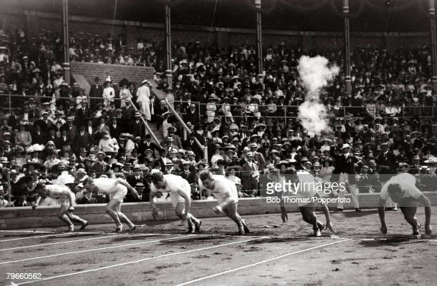 Competitors starting a race in preliminary rounds of the 100 Metres event at Stockholm Olympic Stadium during the Olympic Games 6th July 1912