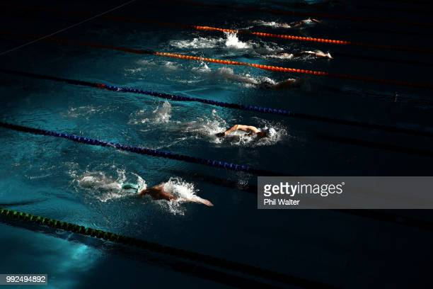 Competitors swim in the Mens 100m freestyle heats during the New Zealand Open Swimming Championships at the Sir Owen Glenn National Aquatic Centre on...