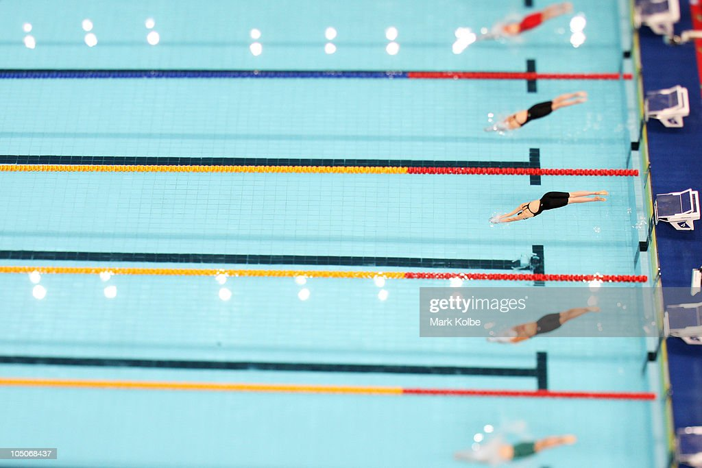 Competitors swim in the Women's 400m Freestyle Final at Dr SPM Swimming Complex during day five of the Delhi 2010 Commonwealth Games on October 8, 2010 in Delhi, India.
