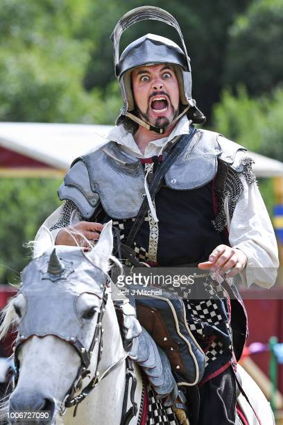 Competitors take part in a jousting competition at Caerlavrock Castle on July 28, 2018 in Dumfries, Scotland. The jousting day is ran by Historic...