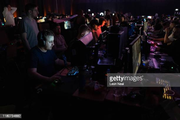Competitors take part in a match at the epicLAN esport tournament at the Kettering Conference Centre on October 12 2019 in Kettering England EpicLAN...