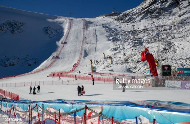 Competitors take part in a training session prior to the FIS ski alpine world cup at the Rettenbach Glacier in Soelden Austria on October 26 2018 The...