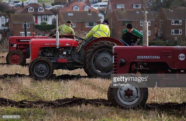 Competitors take part in the annual ploughing match on November 27, 2016 in Staithes, United Kingdom. The event which is held each year in fields...