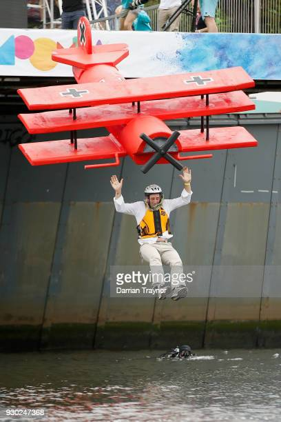 Competitors take part in the Birdman Rally on March 11 2018 in Melbourne Australia The annual charity event sees entrants in home made costumes and...