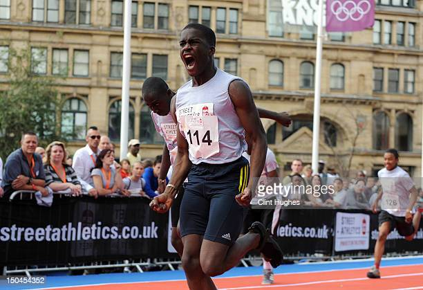Competitors take part in the boys U20 final at the Street Athletics National Final on August 18 2012 in Exchange Square Manchester England