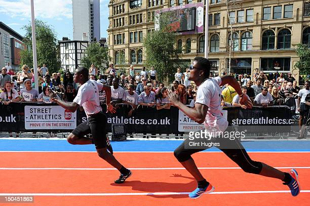 Competitors take part in the boys U20 heats at the Street Athletics National Final on August 18 2012 in Exchange Square Manchester England