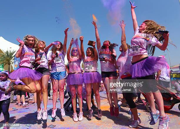 Competitors take part in the Happiest during The Color Run presented by Activelife by Daman on March 29 in ABU DHABI United Arab Emirates