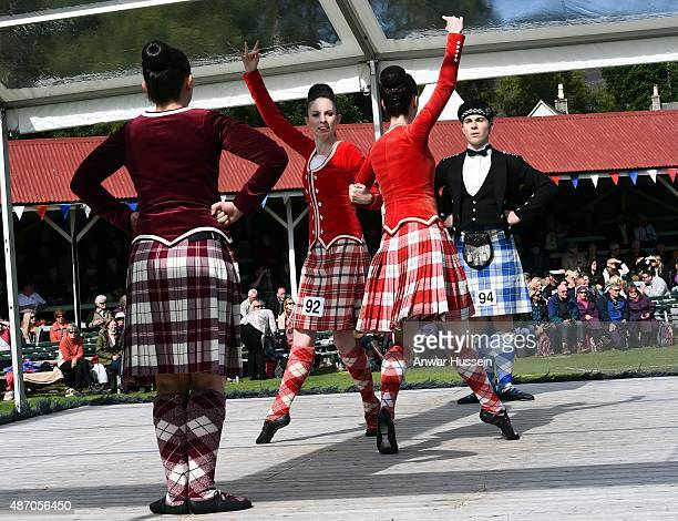 Competitors take part in the Highland dancing competition during the Braemar Highland Games on September 05 2015 in Braemar Scotland There has been...