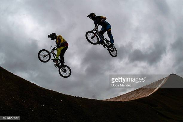 Competitors take part in the International BMX Cycling Challenge at the Rio 2016 Olympic Games BMX cycling track which is part of the XPark at the...