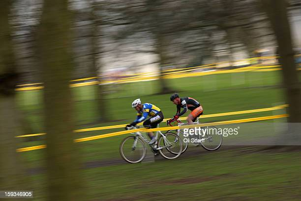 Competitors take part in the 'Veteran 4049 Men' category race at the 2013 National CycloCross Championships in Peel Park on January 12 2013 in...