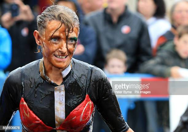 Competitors take part in the World Gravy Wrestling Championships at the Rose n Bowl Stackteads in Lancashire
