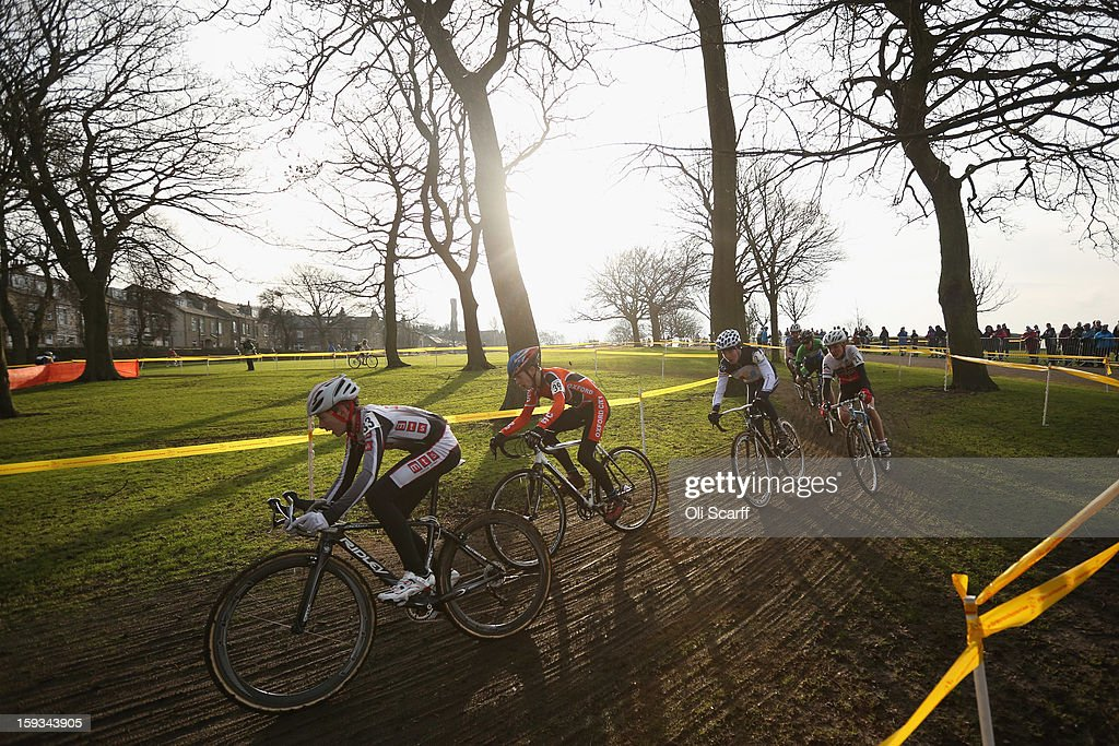 Competitors take part in the 'Youth Under 14' category race at the 2013 National Cyclo-Cross Championships in Peel Park on January 12, 2013 in Bradford, England. The sport of cyclo-cross, featuring lightweight bikes with off-road tyres, has dramatically increased in popularity over the past few years. Cyclo-cross courses are often run over a mixture of terrains from tarmac to mud and frequently include obstacles or steep inclines where riders have to carry their bike.