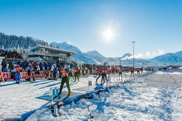 Competitors take the start of the women's sprint event at the IBU Biathlon World Cup in Hochfilzen, Austria, on December 13, 2018. / Austria OUT