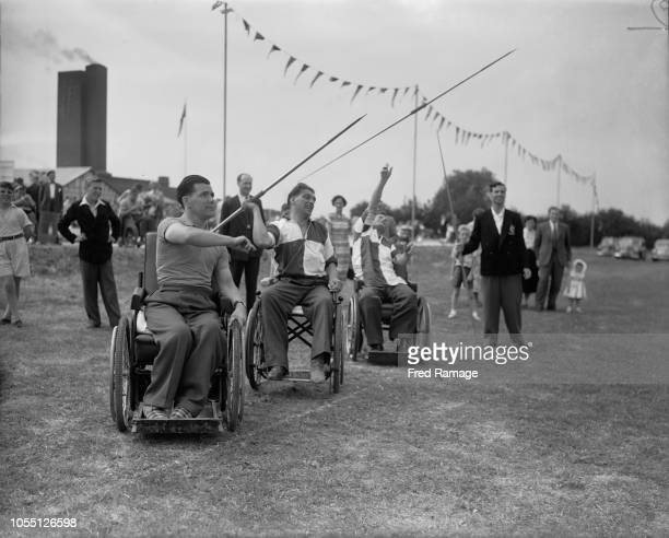 Competitors taking part in the Javelin event at the International Stoke Mandeville Games, at the National Spinal Injuries Centre at Stoke Mandeville...
