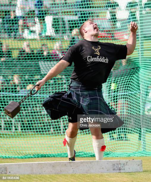 Competitors throw a weight during the 2017 Braemar Gathering at The Princess Royal and Duke of Fife Memorial Park on September 2 2017 in Braemar...