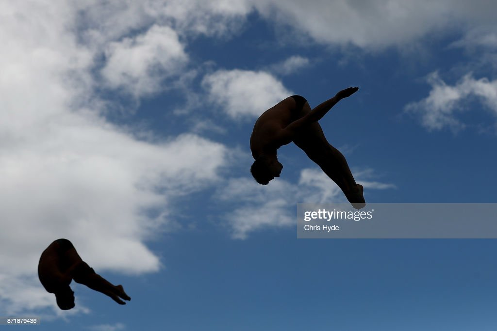 Competitors warm up before competition during the FINA Gold Coast Diving Grand Prix on November 9, 2017 in Gold Coast, Australia.