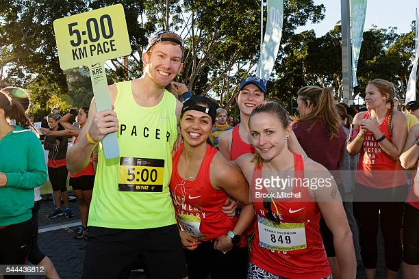 Competitors warm up for the Nike Women's Half Marathon at Sydney Olympic Park on July 3 2016 in Sydney Australia