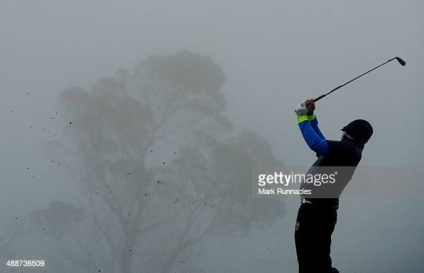 Competitors warm up in the practice area during the weather delayed start at the Madeira Islands Open Portugal BPI at Club de Golf do Santo da Serra...