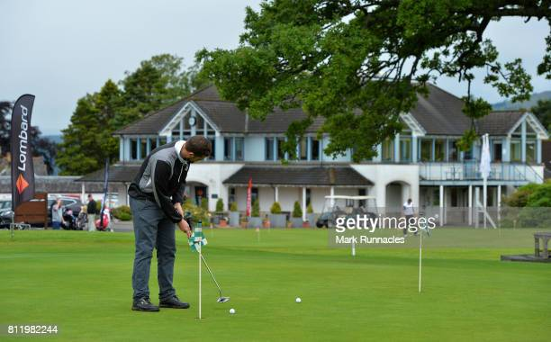 Competitors warm up on the putting green during the Lombard Trophy Scottish Qualifier at Crieff Golf Club on July 10 2017 in Crieff Scotland